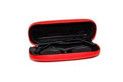 Czerwona okularowa skrzynka dla szkieł zdjęcie royalty free