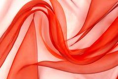 Czerwona organza tkanina Zdjęcia Stock