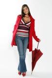 czerwona parasolowa kobieta Zdjęcia Royalty Free