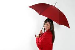 czerwona parasolowa kobieta Fotografia Royalty Free