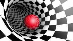 Czerwona piłka w szachowej tunelowej szachowej metaforze Czas i przestrzeń Cykliczna 3d animacja zbiory wideo