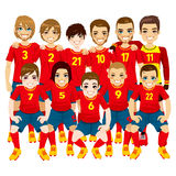 Czerwona piłki nożnej drużyna Zdjęcia Royalty Free
