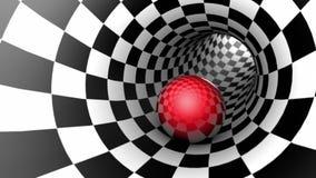 Czerwona piłka w szachowej tunelowej szachowej metaforze Bezszwowy looping 3D animacja zdjęcie wideo