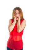 czerwona piękna kobieta Zdjęcia Stock