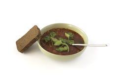 Czerwona polewka i żyto chleb Obraz Stock