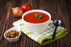 Czerwona pomidorowa polewka Zdjęcie Royalty Free