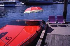Czerwona prędkości łódź Obraz Stock