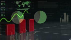 Czerwona prętowej mapy i zieleni trendu linia royalty ilustracja