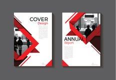 Czerwona projekt książkowej pokrywy broszurki nowożytna okładkowa abstrakcjonistyczna pokrywa Zdjęcie Royalty Free
