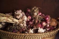 Czerwona purpurowej cebuli i czosnku wiązka Zdjęcie Stock