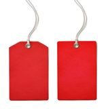 Czerwona pustego papieru sprzedaży lub ceny etykietka ustawia odosobnionego obrazy stock
