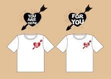 czerwona róża Projekt koszulki dla kochanków Serce i strzała C Fotografia Stock
