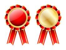 Czerwona różyczka, odznaka z złoto granicy, tasiemkowego i złotego laurowym wiankiem odizolowywającym na bielu, Zdjęcia Stock