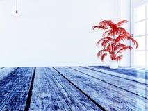 Czerwona roślina blisko okno, 3d ilustracja wektor