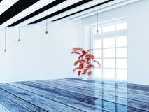 Czerwona roślina blisko okno, 3d zdjęcie royalty free