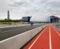 Czerwona rower ścieżka w St Petersburg blisko stadium obraz stock