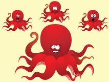 Czerwona rozochocona kreskówki ośmiornica z różną twarzą. Zdjęcia Royalty Free