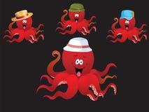 Redcheerful kreskówki ośmiornica z różnorodnymi akcesoriami, (kapelusz). Obrazy Stock