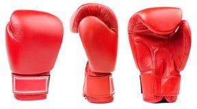 Czerwona rzemienna bokserska rękawiczka odizolowywająca Obrazy Stock