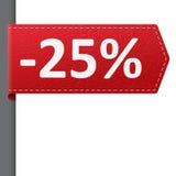 Czerwona rzemienna ceny bookmark 25% sprzedaż daleko Zdjęcie Stock