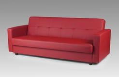 Czerwona rzemienna kanapa Zdjęcia Stock