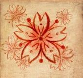 Czerwona Sakura piękna szczotkarska farba ilustracja wektor
