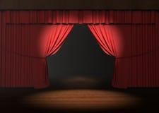 Czerwona sceny zasłona z światło reflektorów na scenie Obrazy Stock