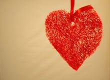 Czerwona sercowata dekoracja Obrazy Royalty Free