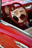 czerwona skórzana koło kierownicy Obrazy Royalty Free