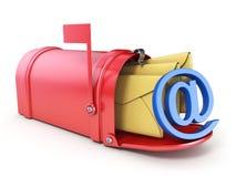 Czerwona skrzynka pocztowa, dwa kolorów żółtych koperta i błękit PRZY znakiem 3D, royalty ilustracja