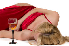 czerwona smokingowa kobieta Zdjęcie Royalty Free