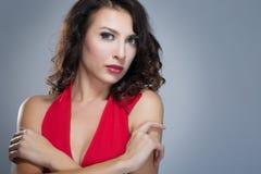czerwona smokingowa kobieta Zdjęcia Stock