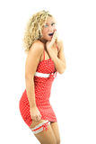 czerwona smokingowa kobieta piękno obrazy stock