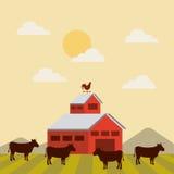 czerwona stajnia nad gospodarstwo rolne krajobrazem ilustracja wektor