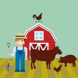 czerwona stajnia nad gospodarstwo rolne krajobrazem ilustracji