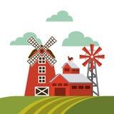 czerwona stajnia nad gospodarstwo rolne krajobrazem royalty ilustracja