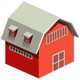 Czerwona stajnia z szarość dachem ilustracji