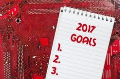 Czerwona stara brudna komputerowego obwodu deska i 2017 celów teksta pojęcie Obrazy Royalty Free