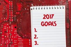 Czerwona stara brudna komputerowego obwodu deska i 2017 celów teksta pojęcie Obrazy Stock