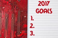 Czerwona stara brudna komputerowego obwodu deska i 2017 celów teksta pojęcie Zdjęcie Royalty Free
