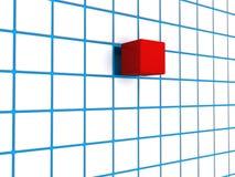 Czerwona sześcianu błękit siatka Fotografia Royalty Free