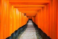 Czerwona Tori brama przy Fushimi Inari świątynią w Kyoto, Japonia obrazy stock