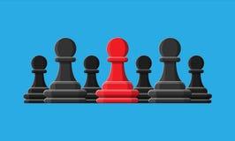 Czerwona unikalna szachowa zastawnicza pozycja wśród szarość ones ilustracji
