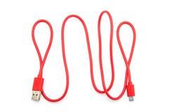 Czerwona USB kabla prymka Obraz Royalty Free