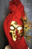 Czerwona venetian kobiety maska Zdjęcia Royalty Free