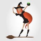 Czerwona włosiana czarownica, trzyma kocioł z napojem miłosnym Obrazy Stock