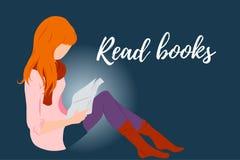 Czerwona włosiana dziewczyna, dama czyta książkową mieszkanie stylu ilustrację dla edukacji, książka sklep, magazynu promo, moda  royalty ilustracja