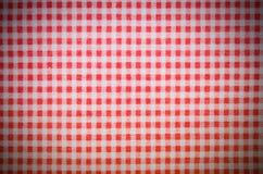 czerwona w kratkę ręcznikowa tekstura z winietą tło, kuchnia zdjęcie stock