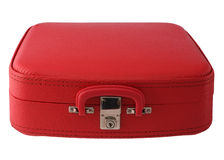 czerwona walizka roczne Zdjęcia Royalty Free