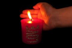 Czerwona świeczka Obrazy Royalty Free